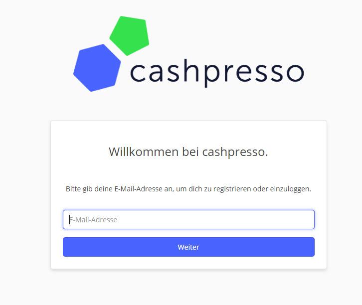 Cashpresso Kredit Test eMail Adresse angeben