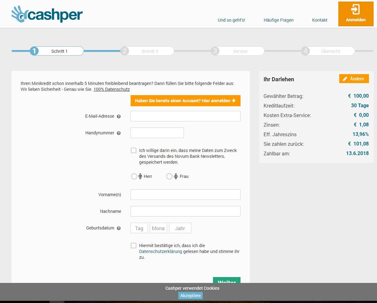 Cashper Kredit Test Erfahrungen